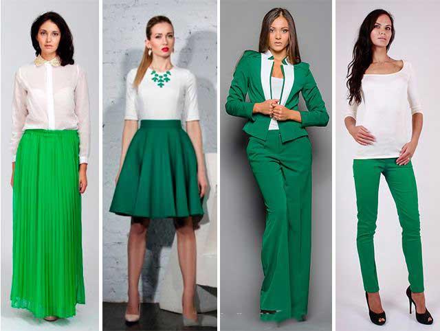 Зеленый цвет одежды сочетается с какими цветами