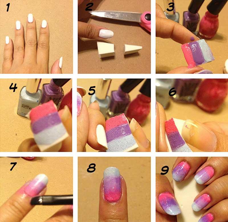Как сделать омбре на ногтях пошагово
