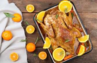 Вкусная курица с румяной корочкой с апельсинами в духовке
