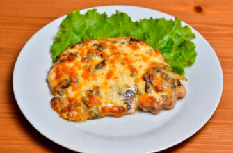 Острая курица с грибами под сырной корочкой